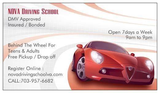 NOVA Driving School Visiting Card
